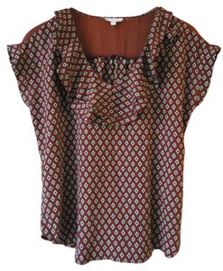 Anthropologie Ruffle Geometric Plieone Red Top