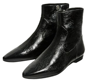 Zara Flat Ankle Leather Black Boots