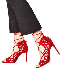 Zara Tassels Night Out Laser Cut Red Sandals