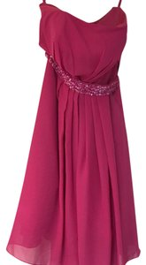 Other 22463 Empire Strapless Knee Length Chidfon Maternity Bridesmaid Sress With Ruffle Beadinf Sequins
