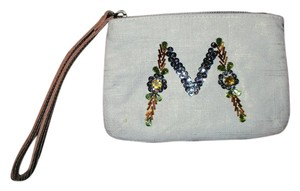 Miss Albright M Monogram Rhinestone Sequin Wristlet in ivory, gold & tan