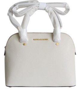 Michael Kors Cindy Medium Dome Leather Satchel in Ecru