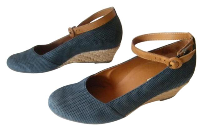 Item - Navy Muncher Espadrille with Ankle Straps Wedges Size US 7.5 Wide (C, D)