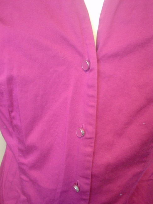 Ann Taylor French Cuff Size 4 Shirt Button Down Shirt Fuscia Image 2