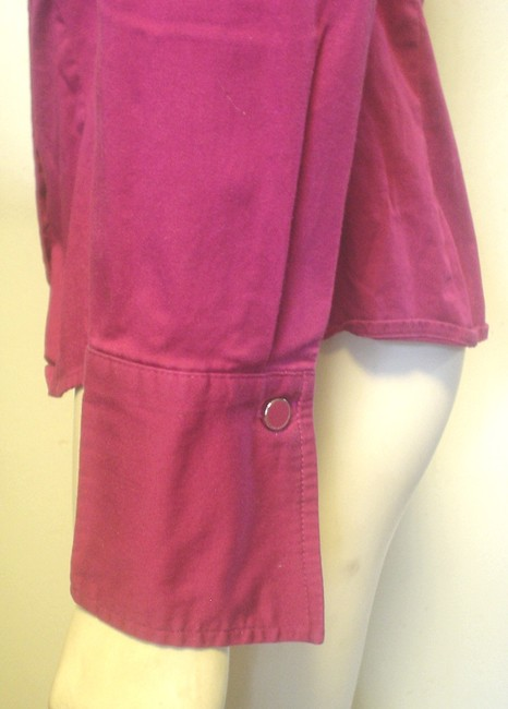 Ann Taylor French Cuff Size 4 Shirt Button Down Shirt Fuscia Image 3