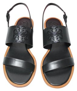 Tory Burch Logo Slingback Flat Leather Black Sandals