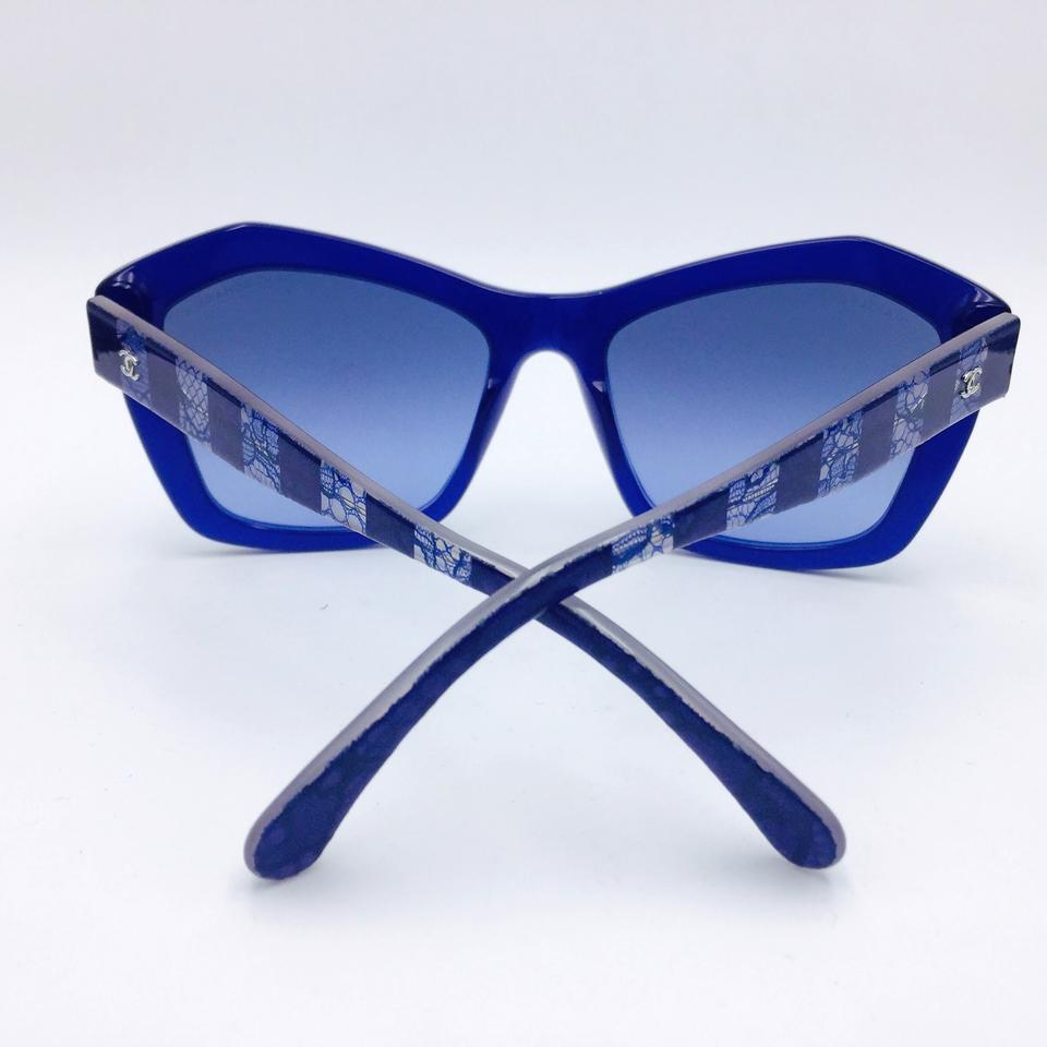 61984f4fc4 Chanel Classic Lace Blue Butterfly Sunglasses w  Gradient Lens 5296 c.1483  S2. 12345678