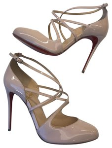 Christian Louboutin Soustelissimo Patent Strappy Ankle Strap Stiletto Nude/Pink Pumps