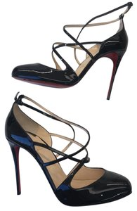 Christian Louboutin Soustelissimo Patent Strappy Ankle Strap Stiletto Black Pumps