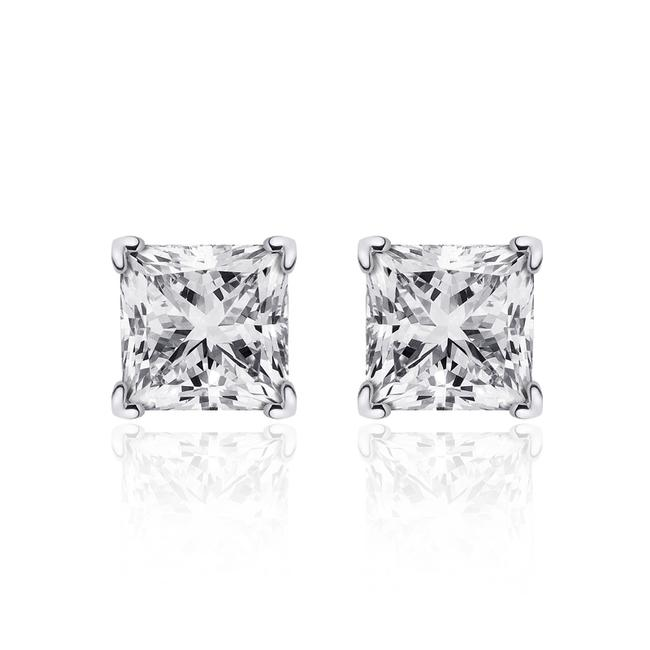 Item - 14k White Gold 0.85 Carat Princess Cut Diamond G/Vs2 Stud Earrings