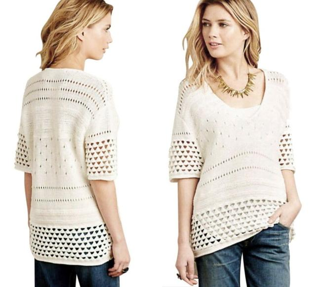 Anthropologie Soft Comfy Oversized Soft Crochet Cotton Dreamy Sweater Image 1