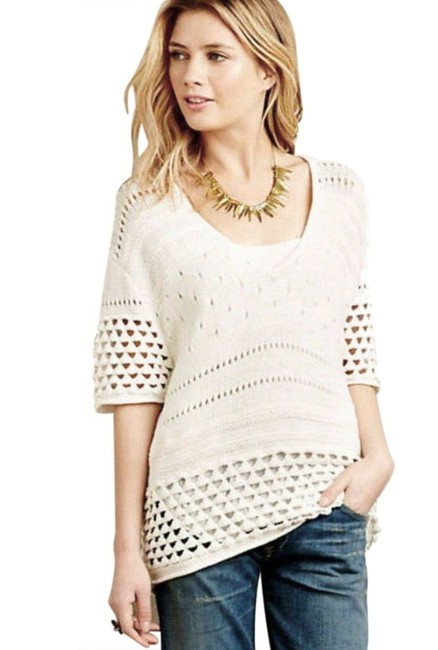 Anthropologie Soft Comfy Oversized Soft Crochet Cotton Dreamy Sweater Image 2