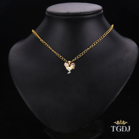 Top Gold & Diamond Jewelry CZ Rooster Pendant,14K Tri Color CZ Rooster Pendant Image 2