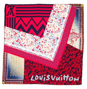 Louis Vuitton Blue, red multicolor silk Louis Vuitton patchwork LV print scarf