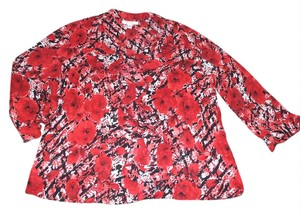 JM Collection Top Red Floral