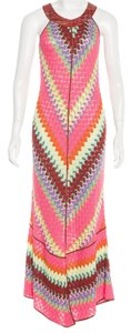Missoni Knit Striped Chevron V-neck Sleeveless Dress