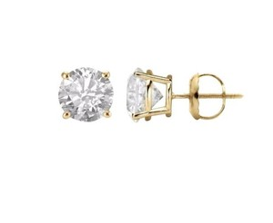 Other 14k White Gold 1.00 Carat Earrings Round Solitaire Screw Back