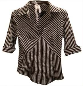 Etcetera Collared Stripped Stripes Striped Top white gray