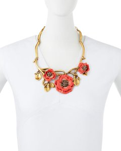 Oscar de la Renta Coral Painted Flower Necklace