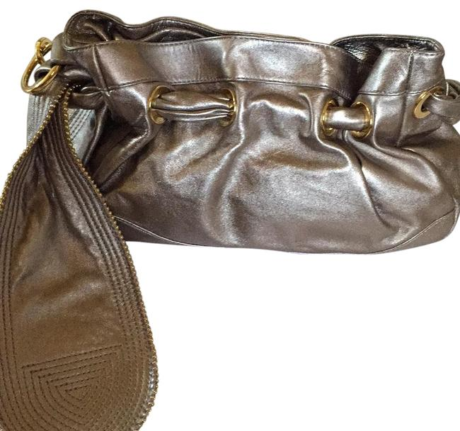 Item - Ca 32458 Rn 08734 Gray/Silver/Gold Leather Hobo Bag