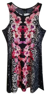 H&M short dress Black with bright floral on Tradesy