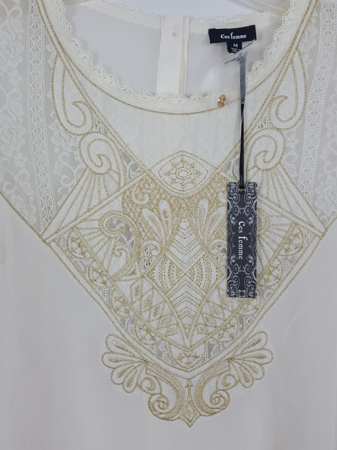 ces femme M Tunic M Top Ivory and light gold Image 3