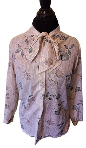Alfred Dunner Vintage Scarf High-necked Secretary Chic Top Beige