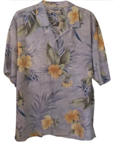 Tommy Bahama Button Down Shirt light blue with pale yellow flowers