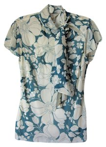 Banana Republic Silk Sheer Floral Split Sleeve Lined Top teal and white