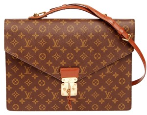 Louis Vuitton Monogram Canvas Briefcase Weekend Travel Brown Messenger Bag