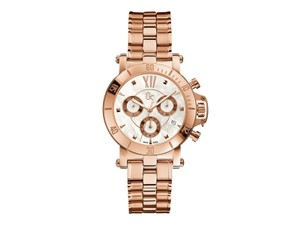 Guess X73008M1S Women's Rose Gold Metal Bracelet With White Analog Dial