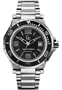 Guess X79004G2S Men's Silver Metal Bracelet With Black Analog Dial Watch