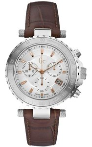 Guess X58005G1S Men Brown Leather Bracelet With Silver Analog Dial