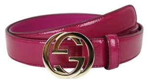 Gucci Belt interlocking G Buckle Fuchsia Patent Leather 105/42 114874 5523