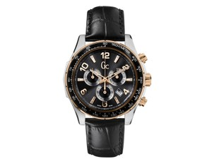 Guess X51003G5S Men's Chic Black Leather Bracelet With Gunmetal Analog Dial
