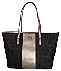 Michael Kors Jet Set Pink Designer Tote in Pale gold brown