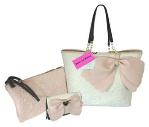 Betsey Johnson Quilted Rose Wallet On A String Tote in bone