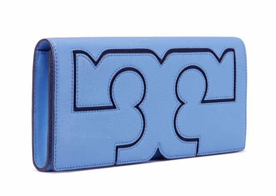 Tory Burch Night Out Date Night Logo Leather Blue Clutch Image 1