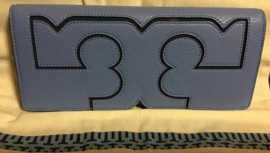 Tory Burch Night Out Date Night Logo Leather Blue Clutch Image 5