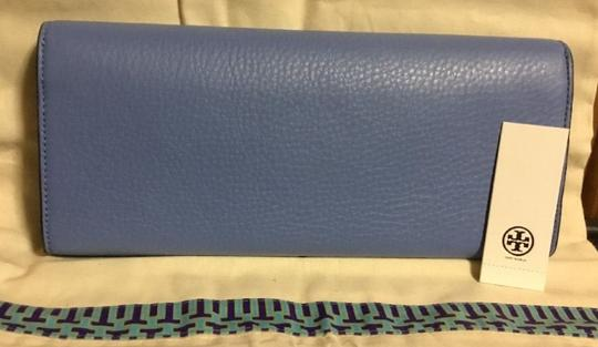 Tory Burch Night Out Date Night Logo Leather Blue Clutch Image 6