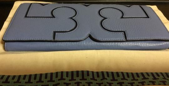 Tory Burch Night Out Date Night Logo Leather Blue Clutch Image 7