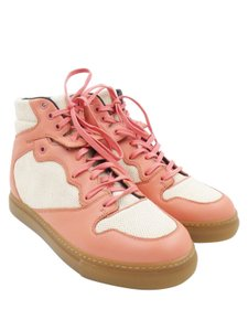 Balenciaga High Top Linen Sneakers Rose Blush, Beige Athletic