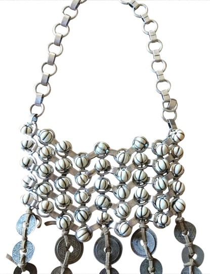 DANNIJO Boho beaded, leather, silver & coin bib necklace Image 1