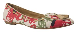 Coach Leather Tassels Floral Red Green Flats