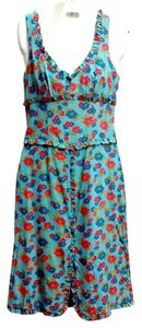 Nanette Lepore short dress Turquoise Floral Ruffle Sleeveless on Tradesy