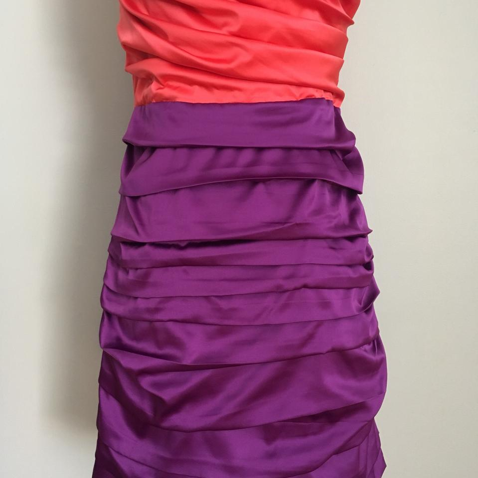 Express Salmon (Coral) and Purple Short Cocktail Dress Size 10 (M ...