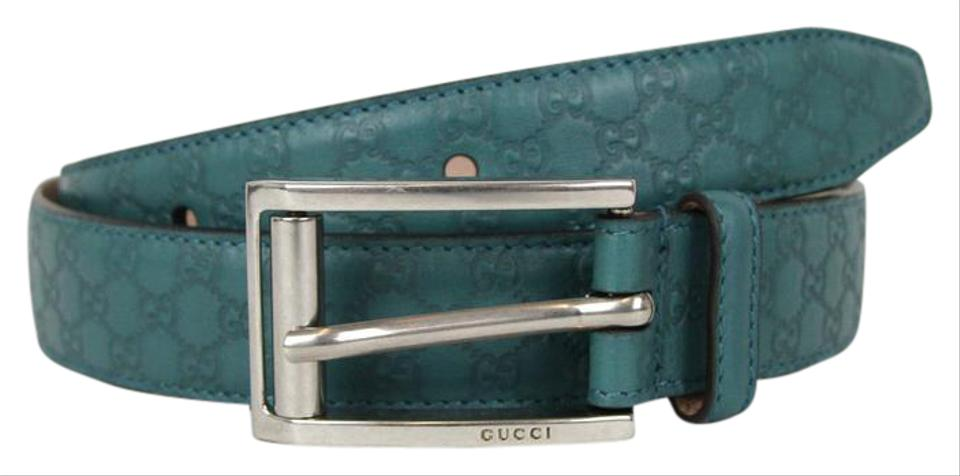 5300070d15b5 Gucci GUCCI Guccissima Leather Belt Metal Buckle Teal 90/36 281798 4715 ...