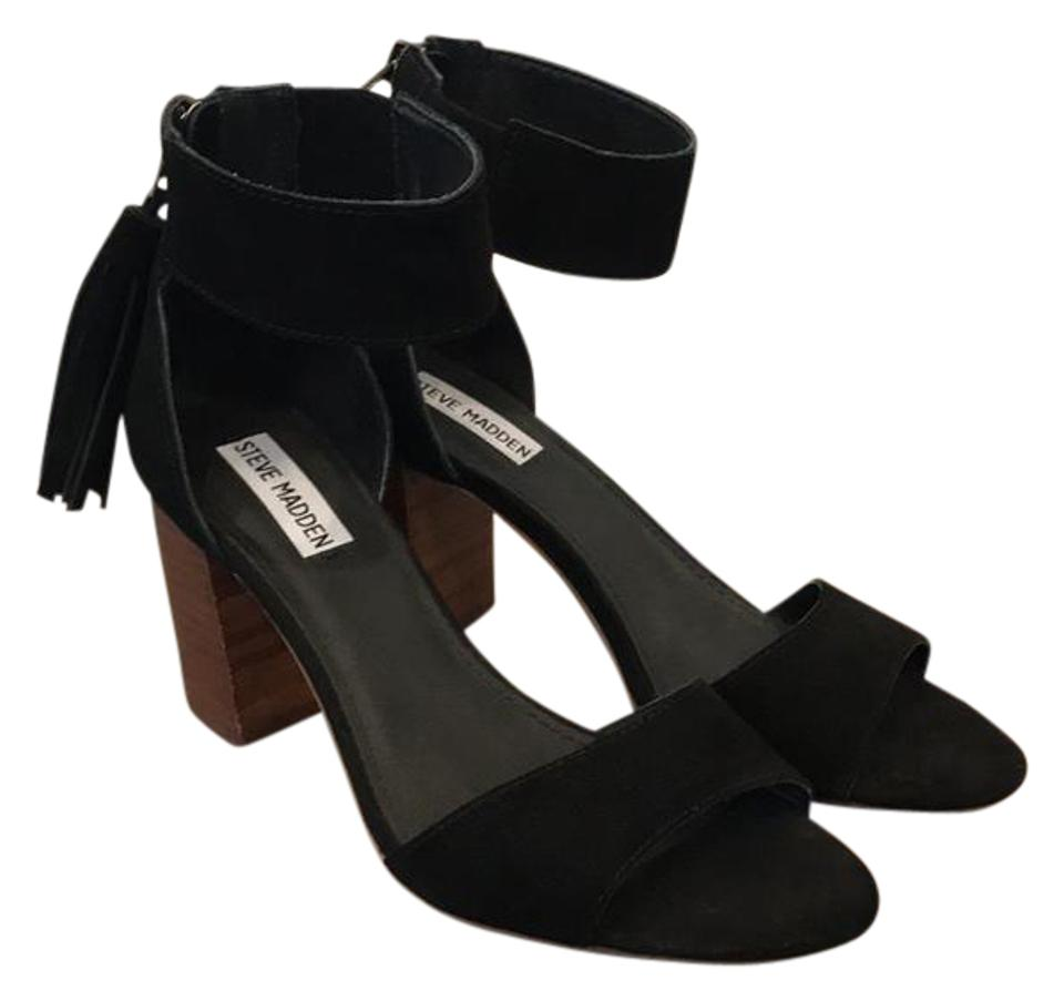 fc7a33c202c Steve Madden Black Never Been Worn Ankle Strap Heeled with Tassel Sandals