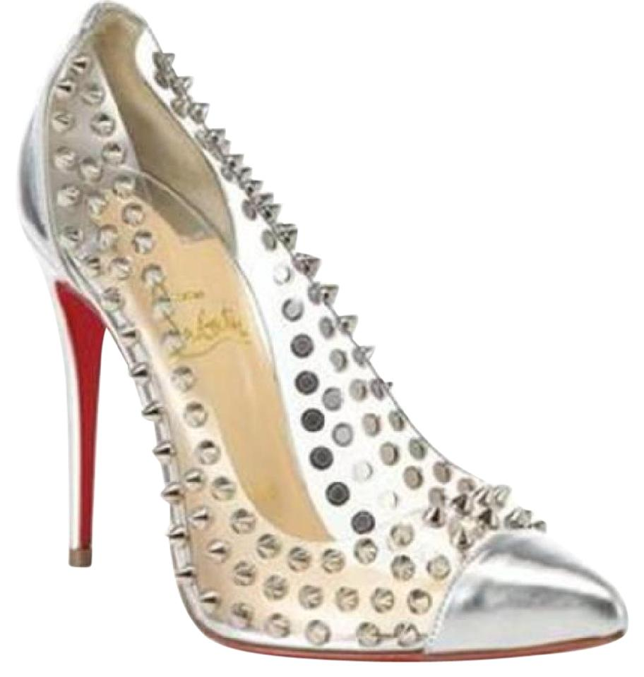 3de92d0e2d1 Christian Louboutin Silver Spike Me Metallic Pvc Clear Studded Pumps ...