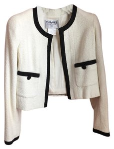 Chanel Jacket Jacket Coat White with black banding Blazer